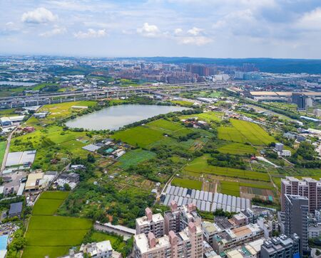 Aerial view of Taoyuan Downtown, Taiwan. Financial district and business centers in smart urban city. Skyscraper and high-rise buildings.