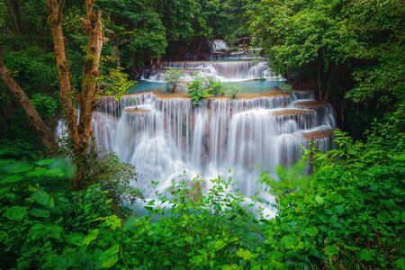 Huay Mae Khamin Waterfall. Nature landscape of Kanchanaburi district in natural area. it is located in Thailand for travel trip on holiday and vacation background, tourist attraction. Imagens