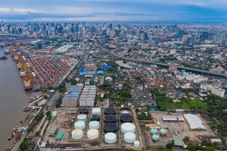 Aerial view of container cargo ship in the export, import business, logistics and transportation. International goods in urban city. Shipping to the harbor by crane in Bangkok City, Thailand. Stok Fotoğraf - 132119664