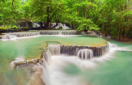 Huay Mae Khamin Waterfall. Nature landscape of Kanchanaburi district in natural area. it is located in Thailand for travel trip on holiday and vacation background, tourist attraction. Banco de Imagens - 132117375