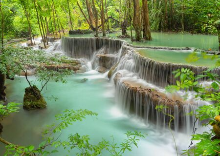 Huay Mae Khamin Waterfall. Nature landscape of Kanchanaburi district in natural area. it is located in Thailand for travel trip on holiday and vacation background, tourist attraction. Banco de Imagens - 132119064