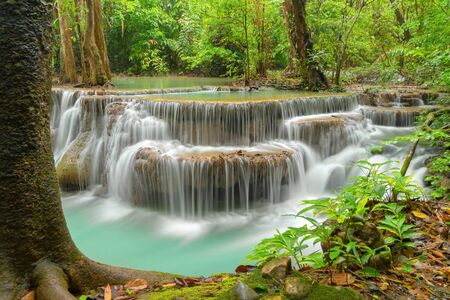 Huay Mae Khamin Waterfall. Nature landscape of Kanchanaburi district in natural area. it is located in Thailand for travel trip on holiday and vacation background, tourist attraction. 免版税图像
