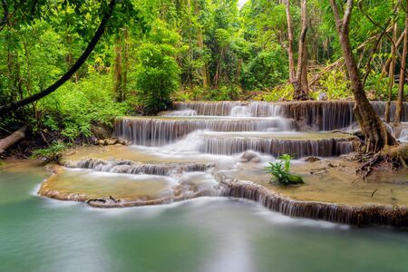 Huay Mae Khamin Waterfall. Nature landscape of Kanchanaburi district in natural area. it is located in Thailand for travel trip on holiday and vacation background, tourist attraction. Banco de Imagens