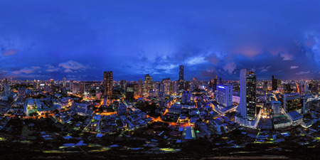 360 panorama by 180 degrees angle seamless panorama view of aerial view of Bangkok Downtown Skyline. Thailand. Financial district and business centers in urban city. Skyscraper buildings at night. Editorial
