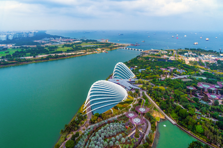 Aerial view of Supertree Grove. Garden by the bay in Marina Bay area in urban city of Singapore Downtown at noon. Landscape background 写真素材 - 129509350