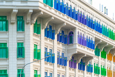 Colorful rainbow pastel building with facade windows background. Architecture building design in Former Hill Street Police Station near Clarke Quay, Singapore City. Editorial
