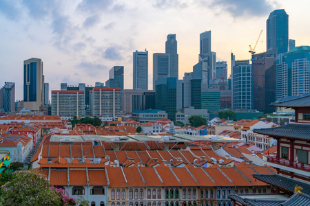 Aerial view of China town, Singapore Downtown skyline at sunset. Financial district and business centers in technology smart urban city in Asia. Skyscraper and high-rise buildings. Editorial