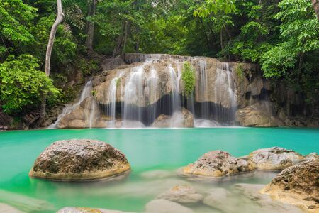 Erawan Waterfall. Nature landscape of Kanchanaburi district in natural area. it is located in Thailand for travel trip on holiday and vacation background, tourist attraction. Banco de Imagens - 132119416
