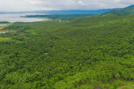 Aerial top view of trees, river or lake in tropical forest in national park and mountain or hill in summer season in Kanchanaburi district, Thailand. Natural landscape background.