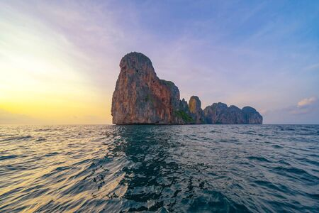 Phi Phi, Maya beach with blue turquoise seawater, Phuket island in summer season during travel holidays vacation trip. Andaman ocean, Thailand. Tourist attraction with blue cloud sky. Reklamní fotografie