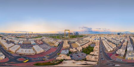 360 panorama by 180 degrees angle seamless panorama of aerial view of Dubai Frame, Downtown skyline, United Arab Emirates, UAE. Financial district and business area in urban city. Skyscraper buildings