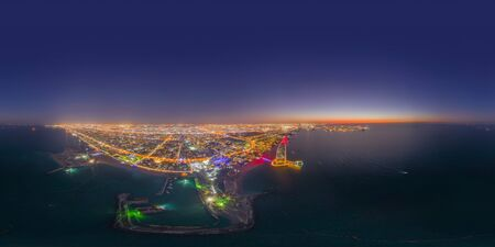 360 panorama by 180 degrees angle seamless panorama of aerial view of Burj Al Arab Jumeirah Island or boat building, Dubai Downtown skyline, UAE. Financial district in urban city. Skyscrapers. Archivio Fotografico