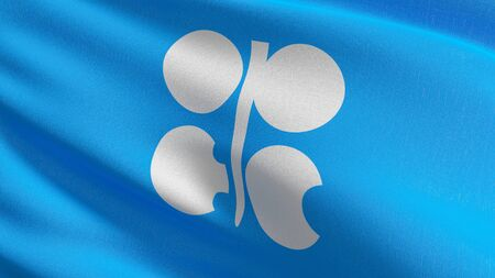 The flag of OPEC Organization of the Petroleum Exporting Countries is an intergovernmental organization of 13 nations. 3D rendering illustration of waving sign symbol. Stock Photo