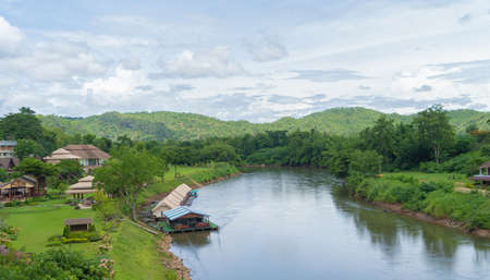 Green Mountain hill with lake or river. Nature landscape background in Phetchabun, Thailand. Banco de Imagens - 157810000