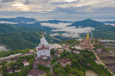 Aerial view of Wat Phra Thart Pha Sorn Kaew Statue temple, Phetchabun, Thailand. Nature landscape background. Travel trip on holiday and vacation. Thai tourist attraction. Banco de Imagens