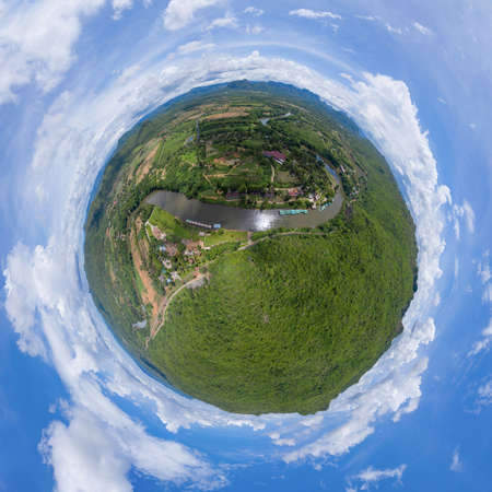 Little planet 360 degree sphere. Panorama of green mountain hill with lake or river. Nature landscape background in Phetchabun, Thailand.