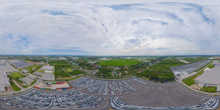360 panorama by 180 degrees angle seamless panorama of aerial top view of new cars parking for sale stock lot row, dealer inventory import and export business commercial worldwide.
