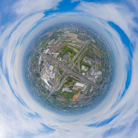 Little planet 360 degree sphere. Panorama of aerial view of cars driving on highway junctions. Bridge street roads in connection network of architecture concept. Urban city, Bangkok, Thailand.