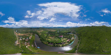 360 panorama by 180 degrees angle seamless panorama of green mountain hill with lake or river. Nature landscape background in Phetchabun, Thailand.