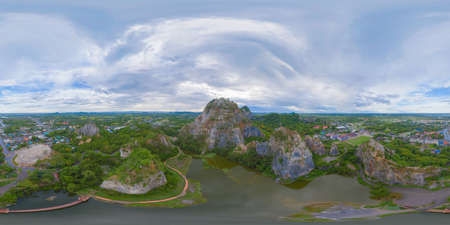 360 panorama by 180 degrees angle seamless panorama of aerial view of Khao Ngu Stone. National park with river lake, mountain valley hills, and green forest trees at sunset in Ratchaburi, Thailand.