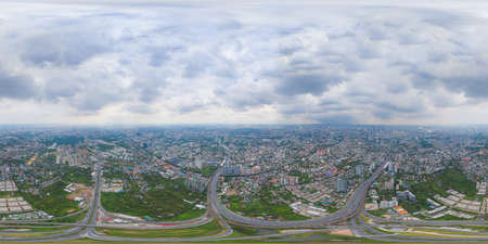 360 panorama by 180 degrees angle seamless panorama of aerial of cars driving on highway junctions. Bridge street roads in connection network of architecture concept. Urban city, Bangkok, Thailand