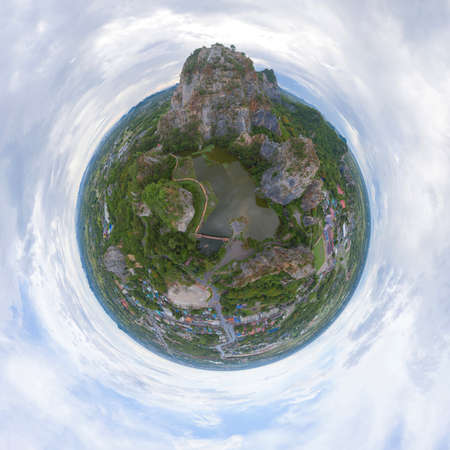 Little planet 360 degree sphere. Panorama of aerial view of Khao Ngu Stone. National park with river lake, mountain valley hills, and green forest trees at sunset in Ratchaburi, Thailand. Imagens