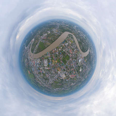 Little planet 360 degree sphere. Panorama of aerial view of buildings with curve of Chao Phraya River. Cha Choeng Sao skyline near Bangkok, Urban city in downtown area, Thailand.