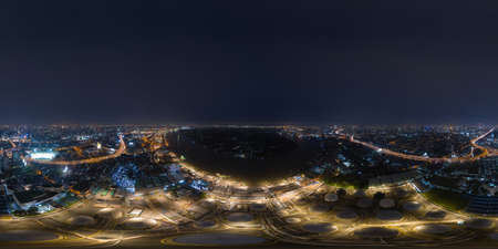 360 panorama by 180 degrees angle seamless panorama of aerial view of petrochemical oil refinery and sea in industrial engineering in Bangna district at night, Bangkok City, Thailand. Oil and gas. Editorial