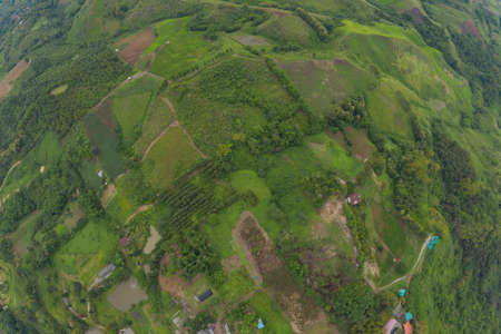 Aerial top view of green Mountain hill. Nature landscape background in Phetchabun, Thailand.