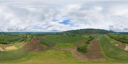 360 panorama by 180 degrees angle seamless panorama of aerial top view of green Mountain hill. Nature landscape background in Phetchabun, Thailand.