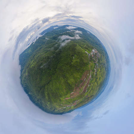 Little planet 360 degree sphere. Panorama of aerial top view of green Mountain hill. Nature landscape background in Phetchabun, Thailand.