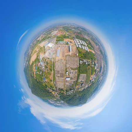 Little planet 360 degree sphere. Panorama of aerial view of electricity generating, voltage poles. Power lines on utility tower and cable wires in energy electric, and industry. Transmission Banco de Imagens