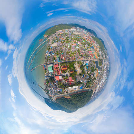 360 panorama by 180 degrees angle seamless panorama of aerial view of residential buildings in Sri Racha district with sea, Chonburi skyline, Thailand. Urban city in Asia. Architecture landscape.
