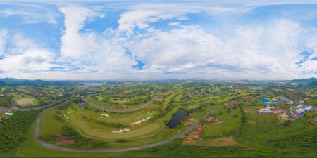 360 panorama by 180 degrees angle seamless panorama of aerial view of Golf Course Club and hotel resort. Green natural garden park in sport and recreation concept.