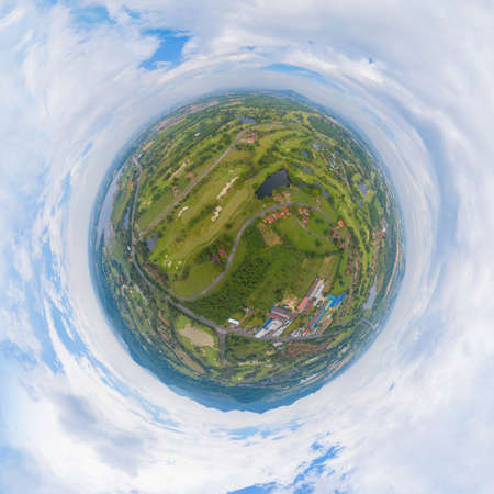 Little planet 360 degree sphere. Panorama of aerial view of Golf Course Club and hotel resort. Green natural garden park in sport and recreation concept. Banco de Imagens