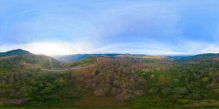 360 panorama by 180 degrees angle seamless panorama of aerial view of sakura cherry flowers blossom trees of Phu Lom Lo national park, Phu Hin Rong Kla National Park, Thailand. Natural landscape Stock fotó