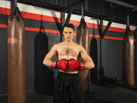 Portrait of strong caucasian man posing muscles, punching combat punches in boxing sport club workout at training gym fitness center. Exercise indoor sport equipment. People lifestyle. Banco de Imagens - 167270449