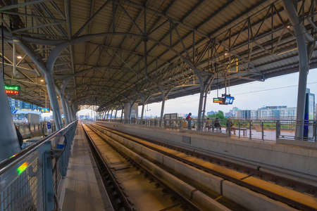 Train view on railway in Airport Rail link in Bangkok Downtown at financial district, buildings in urban city, Thailand. Transportation for tourists visiting in travel trip or holiday.