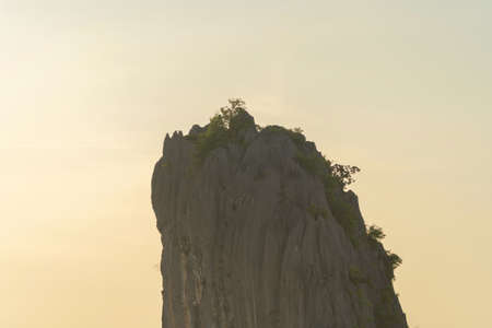 Khao Kuha at Songkhla. Mountain hill with green forest trees. Nature landscape background in Thailand. Huangshan mountain. Stockfoto