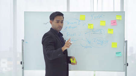 Portrait of Asian business man. A teacher teaching a lesson or lecture in online class on whiteboard in education concept. People lifestyle. Meeting presentation in project. Corporate Banco de Imagens