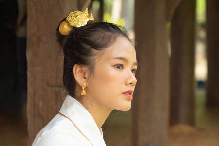 Portrait of smiling Asian Shan woman girl, Tai Yai, northern Thai people with traditional Lanna clothes at Wat Ton Kwen temple, Lanna decoration. Culture lifestyle. Banco de Imagens