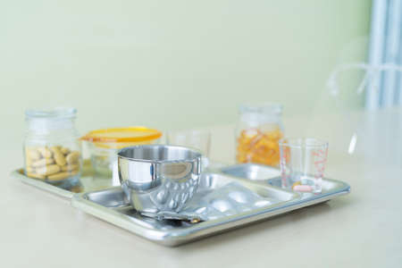 A set of medicine, pills or drugs, doctor instrument tray in hospital, medical and healthcare treatment