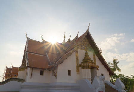 Buddha pagoda stupa. Wat Phumin Temple Park, Nan, Thailand. Thai buddhist temple architecture. Tourist attraction. Banco de Imagens