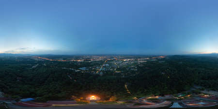 360 panorama by 180 degrees angle seamless panorama of aerial view of roofs of local village houses. Residential buildings at night in Nan, Thailand. Urban city town in Asia. Architecture landscape. Banco de Imagens