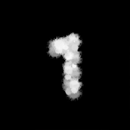 fog mist or smoke forming number one, 1, alphabet text character on black background. illustration