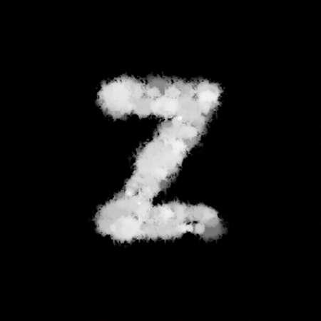 fog mist or smoke forming letter Z, English alphabet text font character on black background. illustration