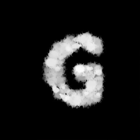fog mist or smoke forming letter G, English alphabet text font character on black background. illustration
