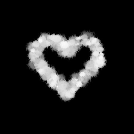 fog mist or smoke forming a heart symbol on black background. illustration. Love in valentine day. 写真素材