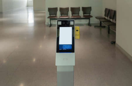 Empty screen of thermal wrist scan temperature fast screening in entrance. Face or wrist recognition terminal. Health and safety measurement. Entrance.virus equipment. New normal