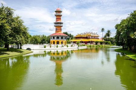 The Thai Royal Residence and Sages Lookout Tower in Bang Pa-In Royal Palace, Ayutthaya, Thailand.